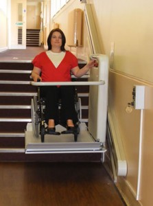 Lady on a wheelchair stairlift